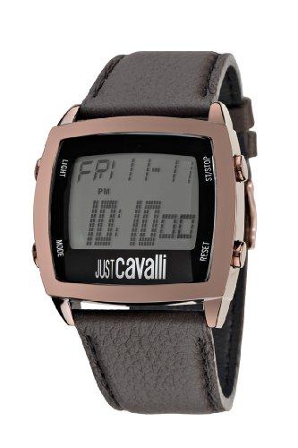 Just Cavalli - R7251225025 - Screen - Montre Homme - Quartz Digital - Cadran Gris - Bracelet Cuir Marron