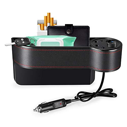 GPFDM Dual USB+2 Cigarette Lighter Sockets Car Seat Gap Crevice Storage Box Stowing Tidying Bag - Socket-caddy