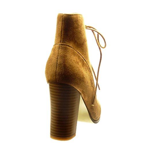 Angkorly - Scarpe Da Donna Stivaletti - Alto Tacco Alto 9,5 Cm Cammello