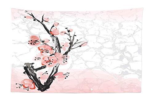 Floral Tapisserie, japanische Kirschblüte Sakura Tree Branch weichen Pastell Aquarell Print, Stoff Wand hängen Dekor für Schlafzimmer Wohnzimmer Schlafsaal -
