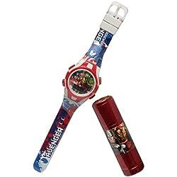 Reloj niño Avengers Iron Man Hulk Capitán América Marvel Comics Plus linterna