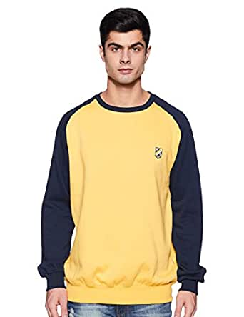 Amazon Brand - House & Shields Men's Sweatshirt (AW19-HSS-18_Navy&Yellow_M)