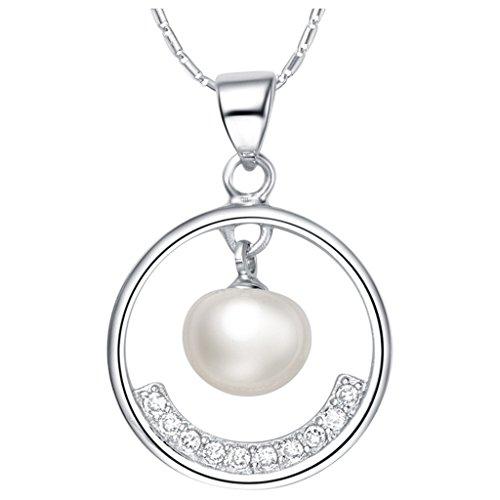 Placcato Oro Bianco Collana Donna Argento Pendente Perla Tondo Cristallo Austriaco CZ Da (Triangolo Due Orecchini Tono)