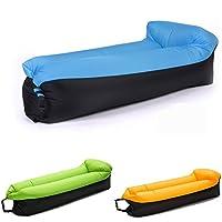 NewMum Sofa Hinchable-portátil impermeable Durable ligero poliéster sofá al aire libre aire con almohada para Camping, playa, parque, patio (Azul)