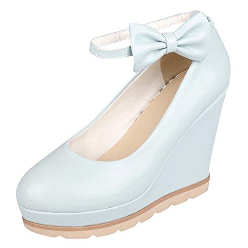 YE Damen Süß High Heels Plateau Runde Geschlossen Pumps mit Keilabsatz und Riemchen Schleife Schnalle 10cm Absatz Schuhe Blau