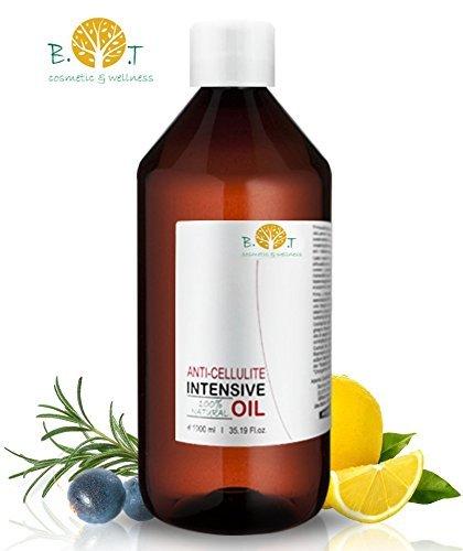 Olio Intensivo Anti cellulite Dimagrante 100{cc1c987f4718e5b1bff4d9a06b7e9b2f664ca3ddd41f4d3e3b2f724b7016767c} Naturale con Oli essenziali di limone, rosmarino, cannella, basilico e ginepro 1000 ml - Penetra 6 volte più in profondità