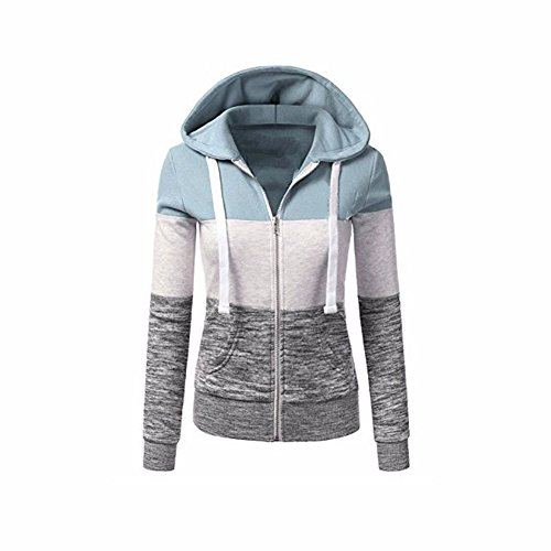 Newbestyle Jacke Damen Kapuzenpullover Strickjacke Pullover Sweatshirt Hoodies Kontrastfarbe Pulli Hellgrün Medium (Zip-strickjacke)