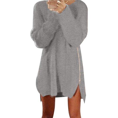 Damen Pullover Kleid,Dasongff Damen Lässige lose Reißverschluss Pullover Kleid Gestrickt Strickkleid Pullikleid (M, Grau) -