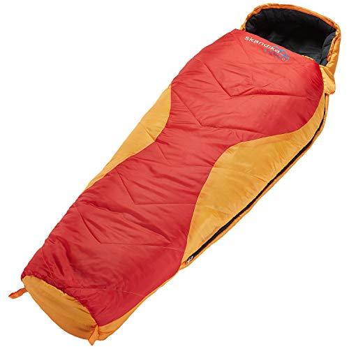 Skandika Shetland Junior Mumienschlafsack, für Kinder, mit Reißverschlussabdeckung, orange/rot, 170 cm (140 + 30)