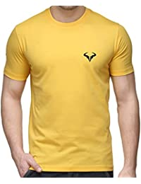 T Shirt - Rafael Nadal Printed Cotton T Shirt - Rafael Nadal T Shirt - Yellow Color Cotton T Shirt