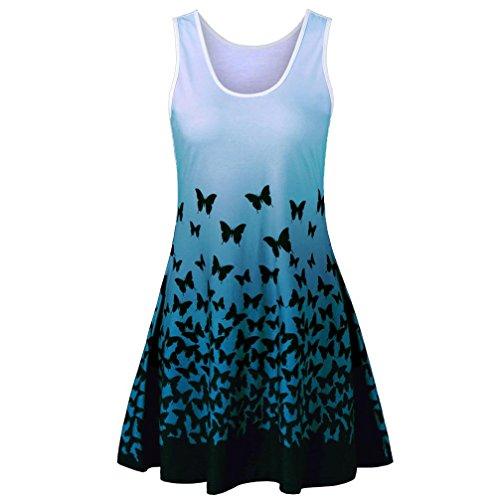 SOMESUN Casual Lose T-Shirt Kleid Ärmelloses Kleid Damen Blusenkleid Tank Tops A-Linie mit Schmetterling Druck Partykleider Cocktailkleid Print Kleid (Grün, XXL)