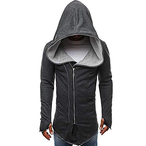 UJUNAOR Mantel Herren Dunkel Kapmantel Assassine Creed Reißverschluss Langer Pullover mit Kapuze(Dunkelgrau,CN 2XL) (Creed Assassin Anzug S)