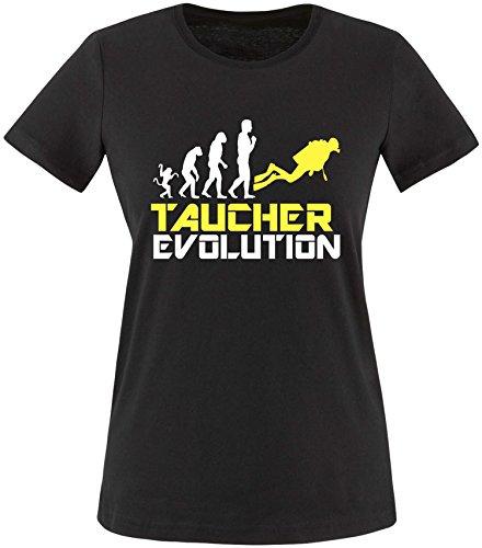 EZYshirt® Taucher Evolution Damen Rundhals T-Shirt Schwarz/Weiss/Gelb