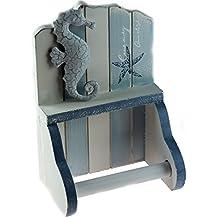 Porta carta igienica in legno, design nautico con cavalluccio marino, colore blu e bianco