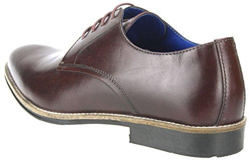 Ruban Rouge Shannon jusqu'en dentelle Chaussures Homme en cuir bout arrondi 7891011 Bordo Brown