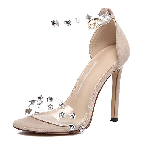 FeiBeauty Mode Frauen Pumps Schnür- & Riemchenpumps Damen Girls Ferse Diamant Highheel Sandalen Nieten Rivets Kleid-Partei Pumps 36-42