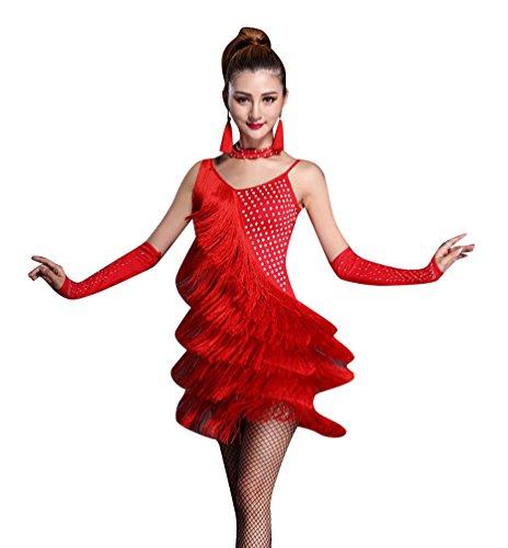 NiSeng Damen Quasten mit Strass LatinTanzkostüm Lateinische Kleidung Latein Kostüm Tanzenkleid S (Latino Kostüm)