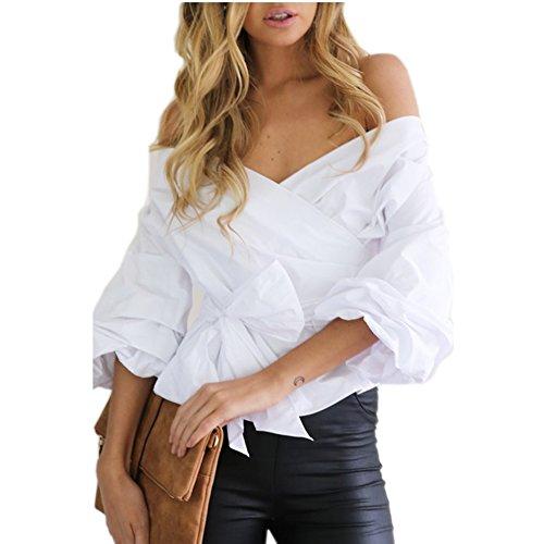 Bayaya Damen Bluse Gr. Medium, weiß (Sleeve Tee Embellished)