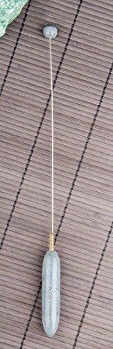 Tensor Om Symbol L 29,5 cm Griff und Kugel aus Speckstein grau   Einhandrute Wünschelrute Messinstrument Radiästhesie   Esoterik Geschenke günstig kaufen