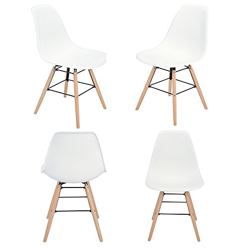 Chaises Design Lot de 4 Tendance rétro Bois Chaise de Salle à Manger - Blanches