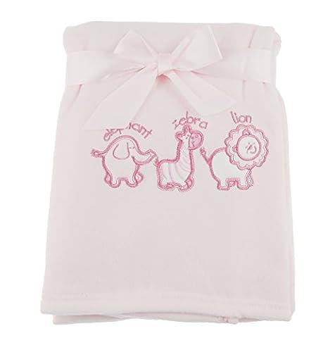 Doux bébé filles garçons Safari Animaux Pour Landau Couverture en polaire - rose - Taille unique