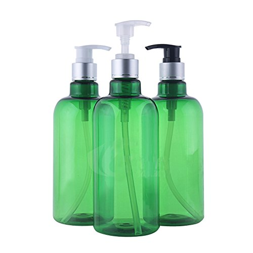 3PCS 500ml/16.6OZ Refillable Empty PET Plastic Green Pump Bottles Jars with Pump Tops for Makeup Cosmetic Bath Shower Toiletries Liquid Containers Leak Proof Portable Travel Accessories