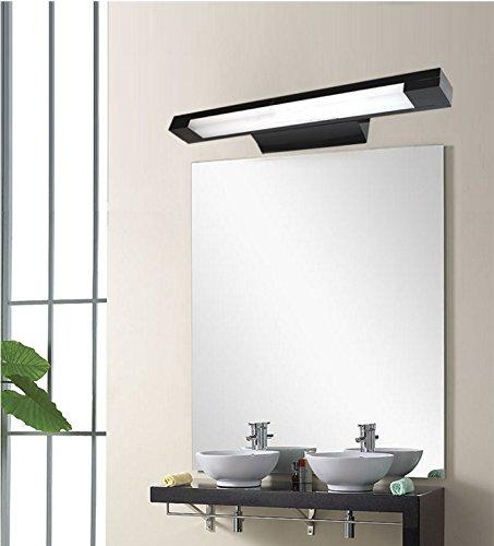 Nero lampada applique Lampada frontale a specchio in acciaio inox moderno minimalista bagno impermeabile WC lampada da parete spruzzata 50 centimetri