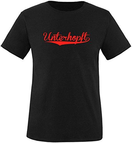 EZYshirt® Unterhopft Herren Rundhals T-Shirt Schwarz/Rot