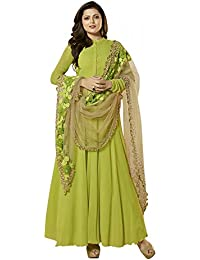 Like A Diva Embroidered Long Anarkali Semi Stitched Salwar Suits Dress Material for Women