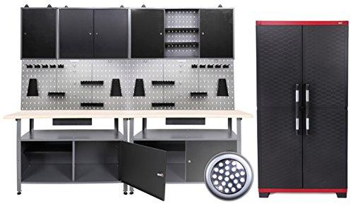 Werkstatteinrichtung 240 cm, 2 Bänke + 4 Schränke + LW + LED
