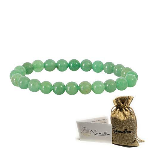 Garaulion Bracelet Pierres Naturelles Femme/Homme, Bracelet Pierre Précieuse 8mm, Pochette Rangement Offerte,Plusieurs Choix Disponibles,[SATISFAIT OU REMBOURSE] (Aventurine)