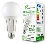 Lampadina a LED greenandco IRC 90+ E27 24W (equivalente 150W) 2050lm 3000K (bianco caldo) 270° 230V AC, nessun sfarfallio, non dimmerabile