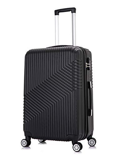 Frentree Hartschalen-Koffer 02   Trolley Reisekoffer Handgepäck mit 4 Rollen M-L-XL-Set zum Auswahl, Koffer Standard Farbe:Schwarz, Koffer Standard Größe:L(66CM)