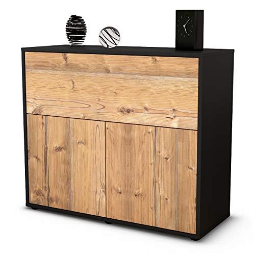 Stil.Zeit Sideboard Carolin/Korpus anthrazit matt/Front Holz-Design Pinie (92x79x35cm) Push-to-Open Technik