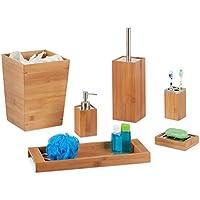 Relaxdays Bad Set, 6-teilig, Bambus, Seifenspender, Seifenhalter, Bürstenhalter, Zahnputzbecher, Ablage, Badeimer, natur