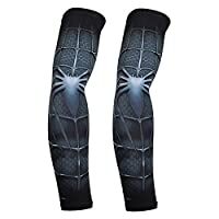 Bellagione Superhero Sports Compression Athletic Arm Sleeves Set of 2 for Men Women Marvel Spider-man Iron Man Hulk DC Comics Batman Superman (Spiderman-F)
