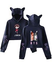 4922d112016c1 BTS Sudaderas con Capucha Ocasionales Mujer Cropped Sweater Manga Larga  Impresa T-Shirt Tops Tendencia