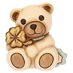 Idea Regalo - THUN ® - Teddy Mini con Quadrifoglio Azzurro - Ceramica - 5,4 cm h
