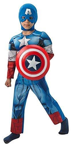 Jungen - Captain America Superhelden Kostüm mit Schild (offiziell lizenziert) - Blau, 5-6 (Superhelden Blau Kostüme)