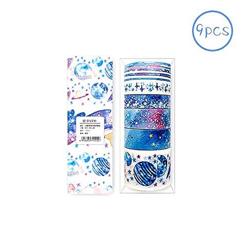 9 Stück/Set Farbiges Washi-Tape Scrapbooking Dekoration DIY machen Cute Cartoon Tape Sticker Papier Punkte für DIY Kunst und Handwerk Raumdekoration (Sterne) - Neun Stück Set
