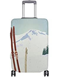 Preisvergleich für COOSUN Berge Und Old Snowboard Print-Reise-Gepäck Schutzabdeckungen Waschbar Spandex Gepäck Koffer Cover - Passend...