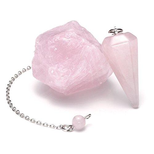CrystalTears Reiki Kit de terapia de cristal, amatista, hexagonal, punta de cristal, péndulo de divinación con amatista rugosa, piedra de cuarzo rosa