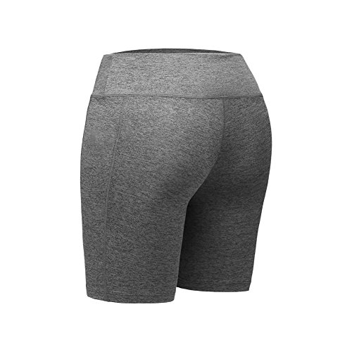 Someas Womens Quick Dry Sport Shorts Training Compression Skin Fit Running Shorts with Side Pocket Gray