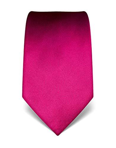 Vincenzo Boretti Herren Krawatte reine Seide uni einfarbig edel Männer-Design zum Hemd mit Anzug für Business Hochzeit 8 cm schmal/breit fuchsia