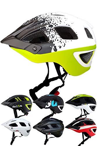 Skullcap Fahrradhelm  MTB Helm  Mountainbike Helm  Herren & Damen  Schwarz/Neon-Grün matt  Visier/Helmschild (White-Black-Green, M)