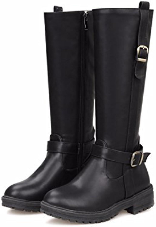 RFF-Women's Shoes Botas de Invierno Inglaterra Plana en Europa y América Botas Altas Código Viento,Negro,42