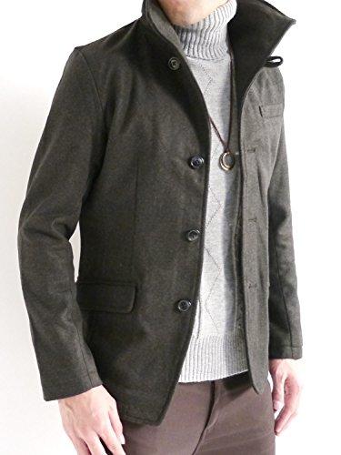(オークランド) Oakland ラウンドカラー ウール メルトン コート 起毛 エレガント ハイネック ジャケット メンズ チャコール/グレー Lサイズ