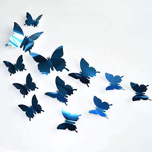 Bobopai 12Pcs 3D Mirror Butterfly DIY Wall Stickers Home Room Art Decoration Silver (Blue) -