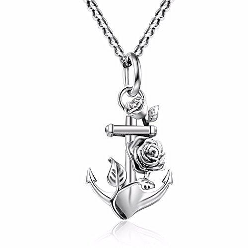 Blumen-halskette Silber (TARDOO Statement Sterling Silber 925 Kette Hübsche Blumen Anhänger Einzigartige Anker Exquisite Halskette für Frauen Fine Jewelry)