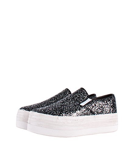 Jeffrey Campbell Slip On zomg Glitter Black White Sneakers - Chaussures Glitter Argent